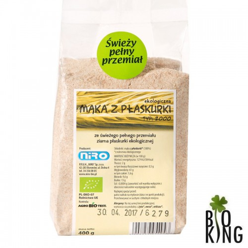 Mąka z pszenicy płaskurki bio organiczna Niro