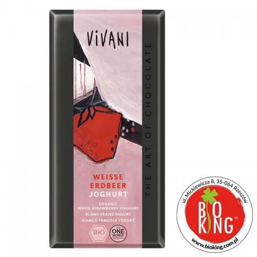 Czekolada biała truskawkowo-jogurtowa bio Vivani