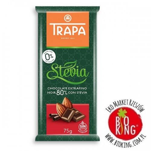 Czekolada gorzka 80% kakao ze stewią Trapa