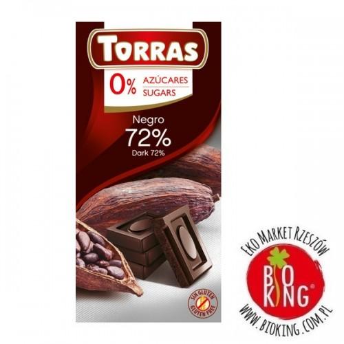 Czekolada gorzka 72% kakao bez cukru Torras
