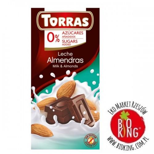 Czekolada mleczna z migdałami bez dodatku cukru Torras