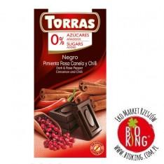 Czekolada gorzka z różowym pieprzem, cynamonem i chilli bez cukru Torras