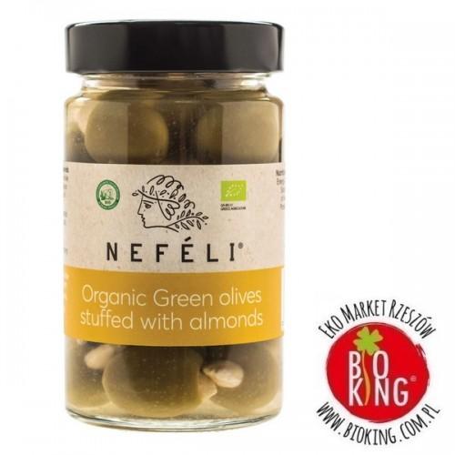 Oliwki zielone nadziewane migdałami w zalewie bio Nefeli