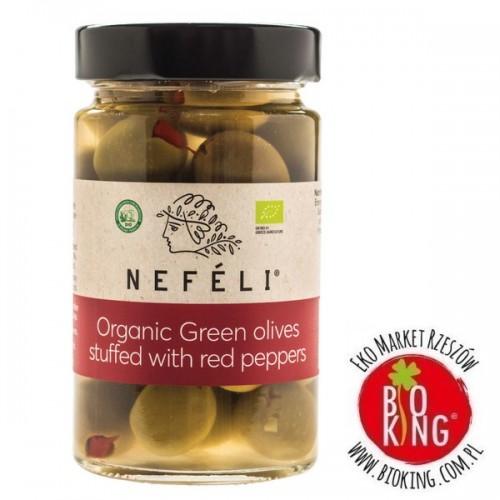 Oliwki zielone nadziewane czerwoną papryką w zalewie bio Nefeli