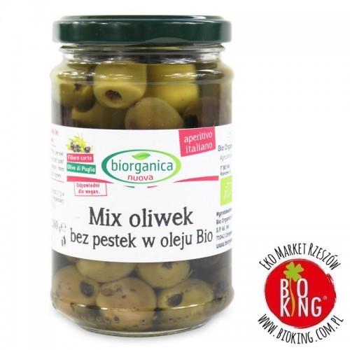 Mix oliwek bez pestek w oleju bio Bio Organica Italia