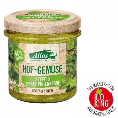 Pasta warzywna ze szpinakiem i orzeszkami piniowymi bezglutenowa bio Allos
