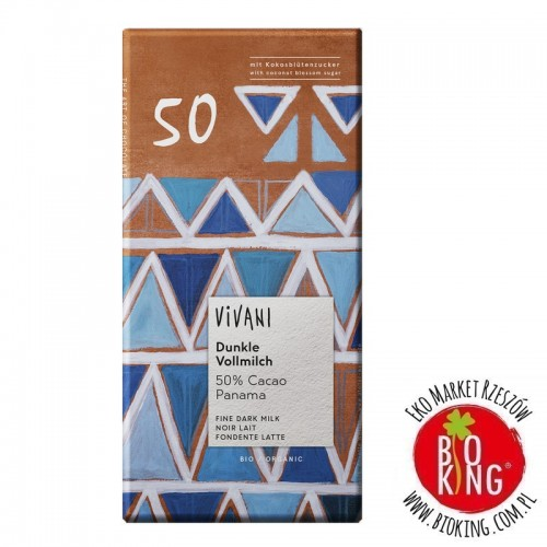 Czekolada mleczna gorzka 50% kakao bio Vivani