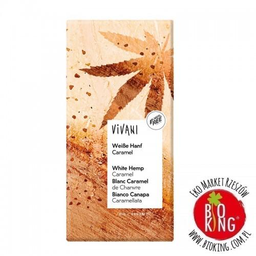 Czekolada biała waniliowa z karmelizowanymi nasionami konopii bio Vivani