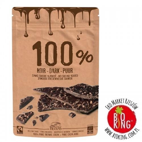 Tabliczki z kruszonymi ziarnami kakao criollo 100% fair trade bezglutenowe Belvas