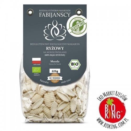 Makaron z ryżu białego muszla gnocchi sardi bezglutenowy bio Fabijańscy