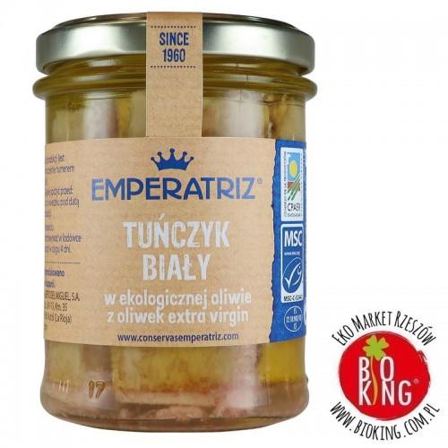 Tuńczyk biały w bio oliwie z oliwek extra virgin słoik Emperatriz