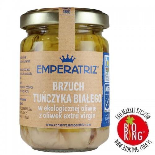 Tuńczyk biały filety brzuszne ventresca w bio oliwie z oliwek extra virgin słoik Emperatriz