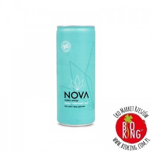 Napój energetyzujący o smaku pomarańcza czarny bez limonka bio Nova