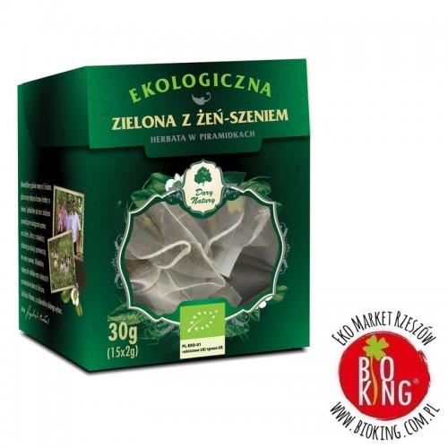 Herbata zielona z żeń szeniem piramidki Dary Natury