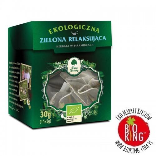 Herbata zielona relaksująca bio piramidki Dary Natury