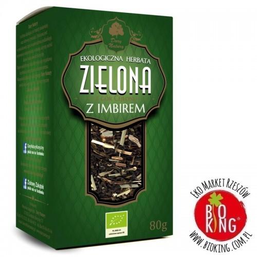 Herbata zielona z imbirem liściasta bio Dary Natury