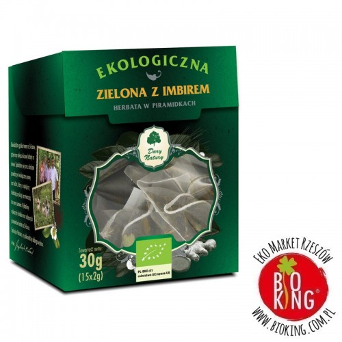 Herbata zielona z imbirem piramidki bio Dary Natury